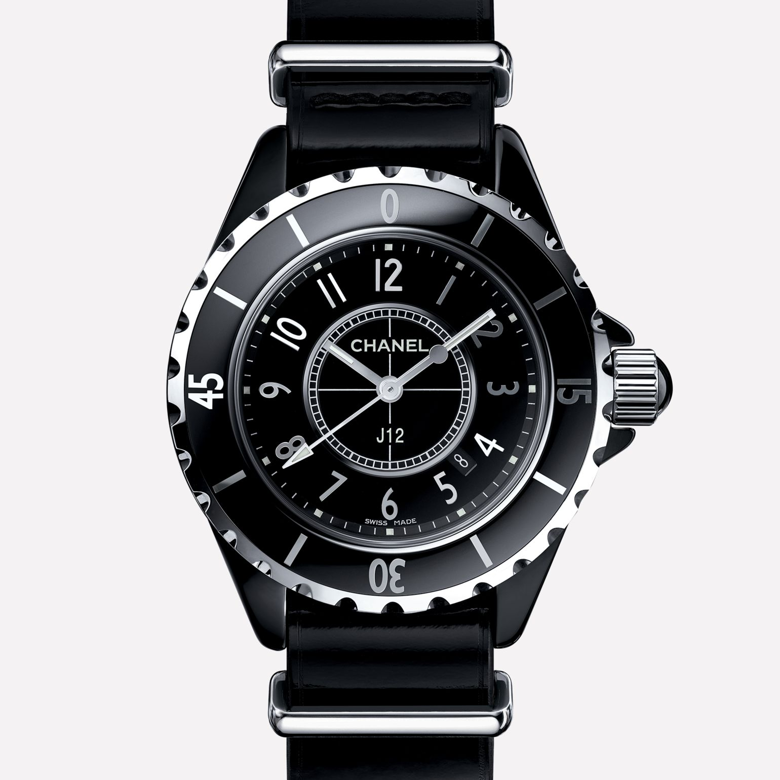 J12-G10 Gloss Black ceramic and steel, patent calfskin strap
