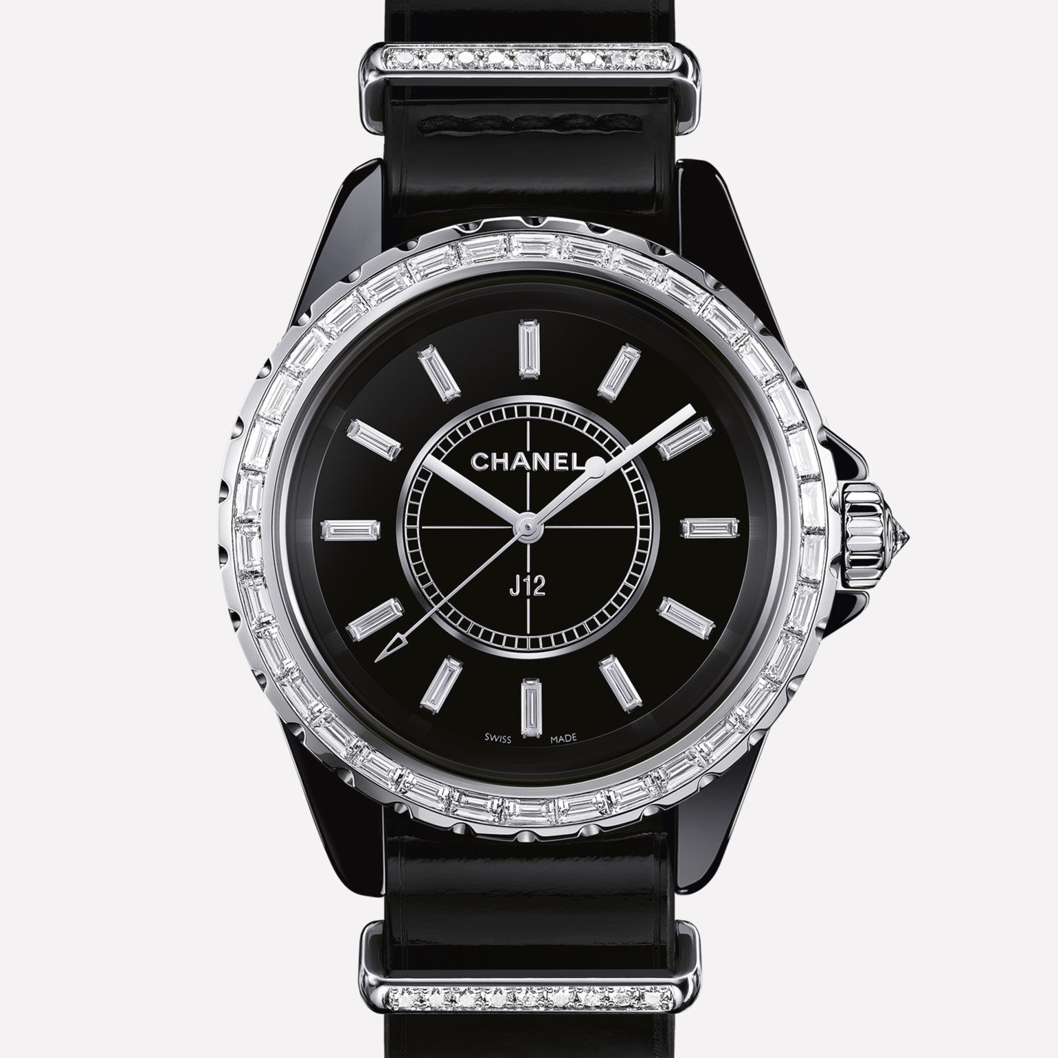 J12-G10 Jewelry Watch Black ceramic and white gold, baguette-cut diamond bezel and indicators