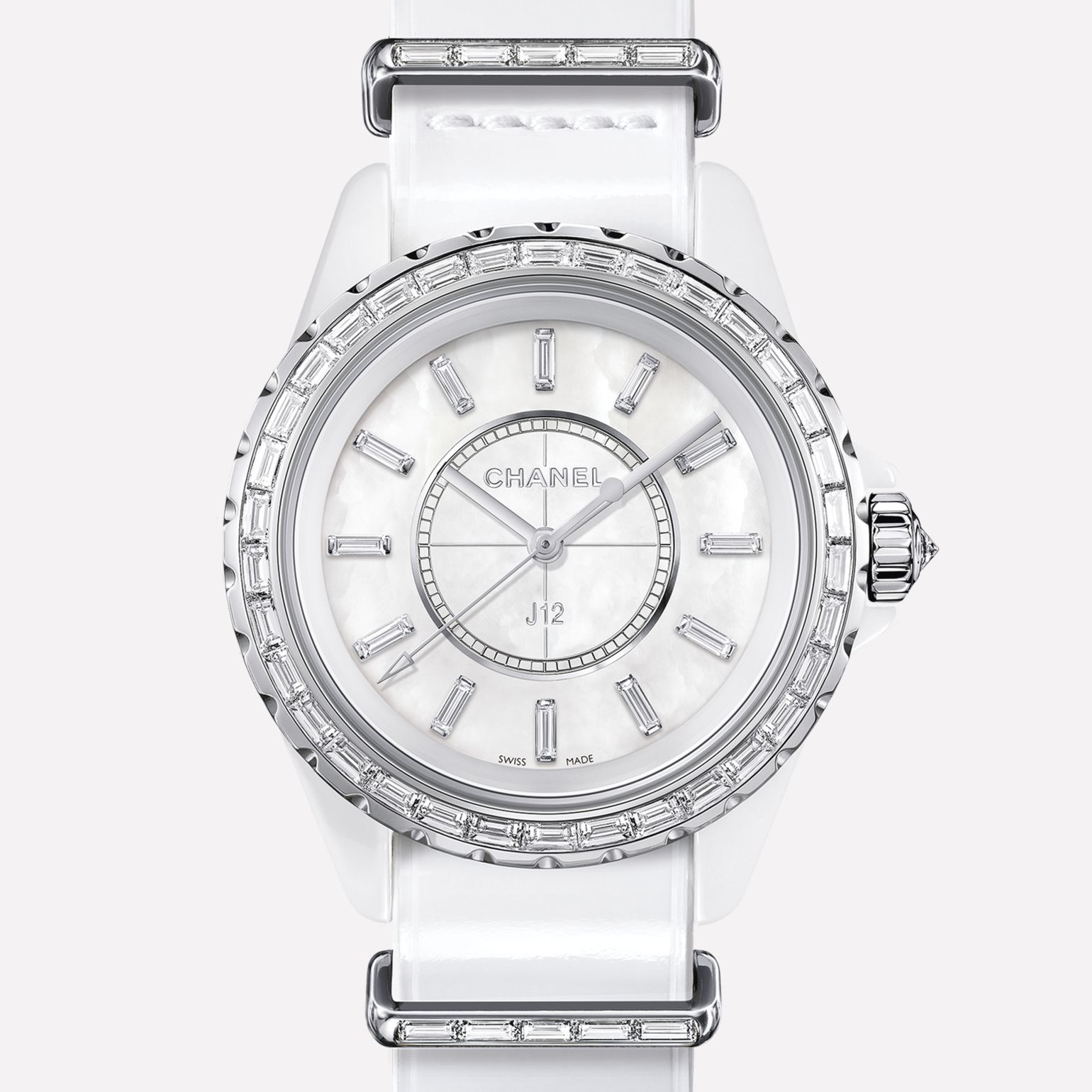J12-G10 Jewelry Watch White ceramic and white gold, baguette-cut diamond bezel and indicators
