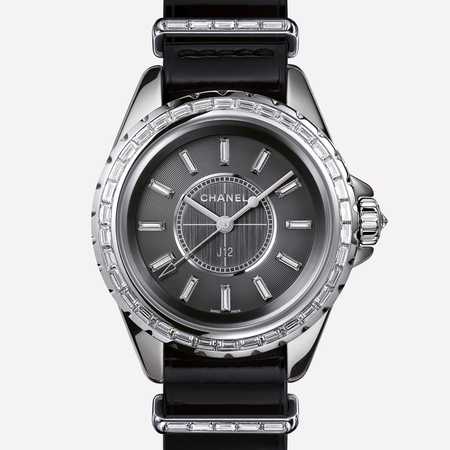 J12-G10 Jewelry Watch Titanium ceramic and white gold, baguette-cut diamond bezel and indicators