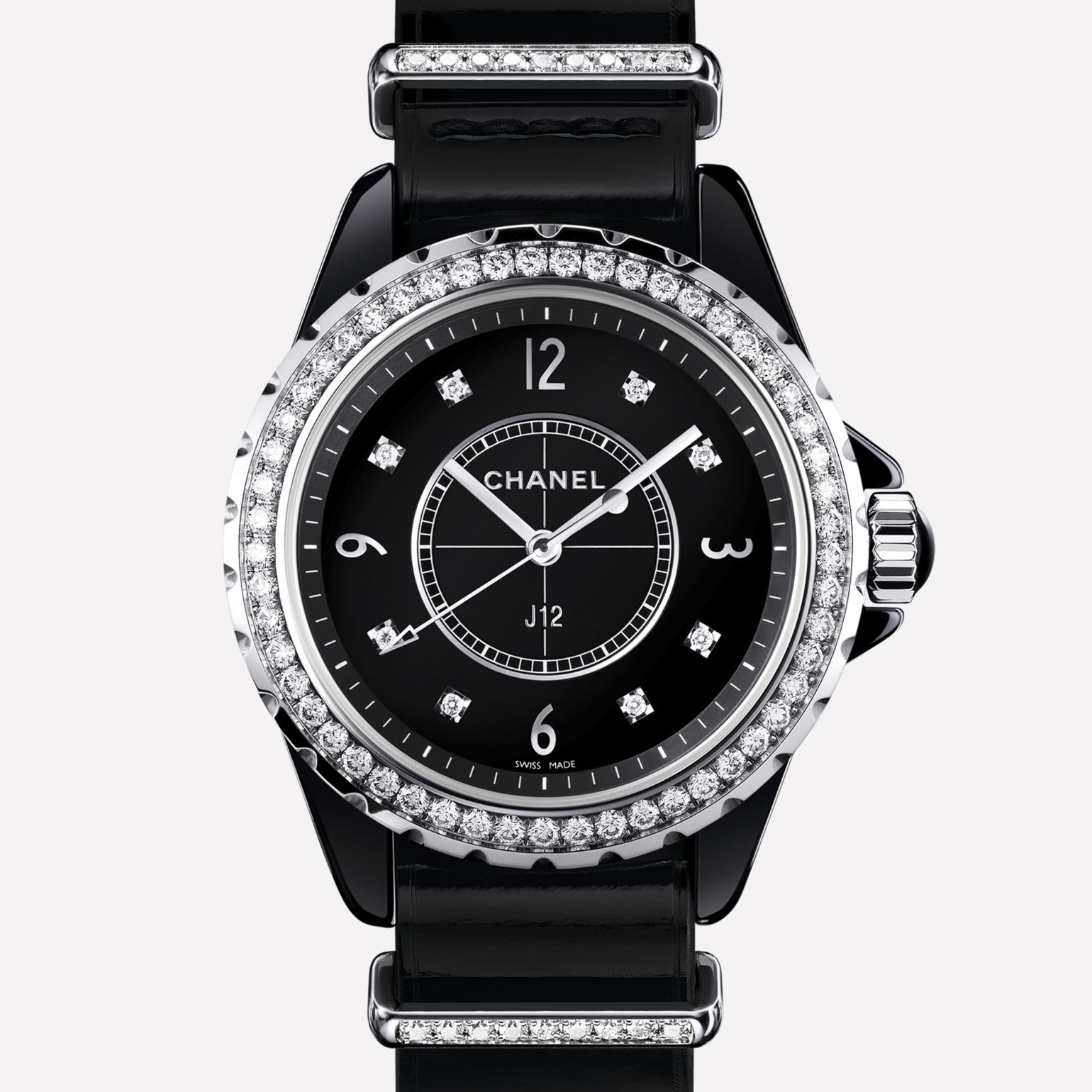 J12-G10 Watch Black ceramic and steel, bezel, indicators, and loops set with diamonds, alligator strap