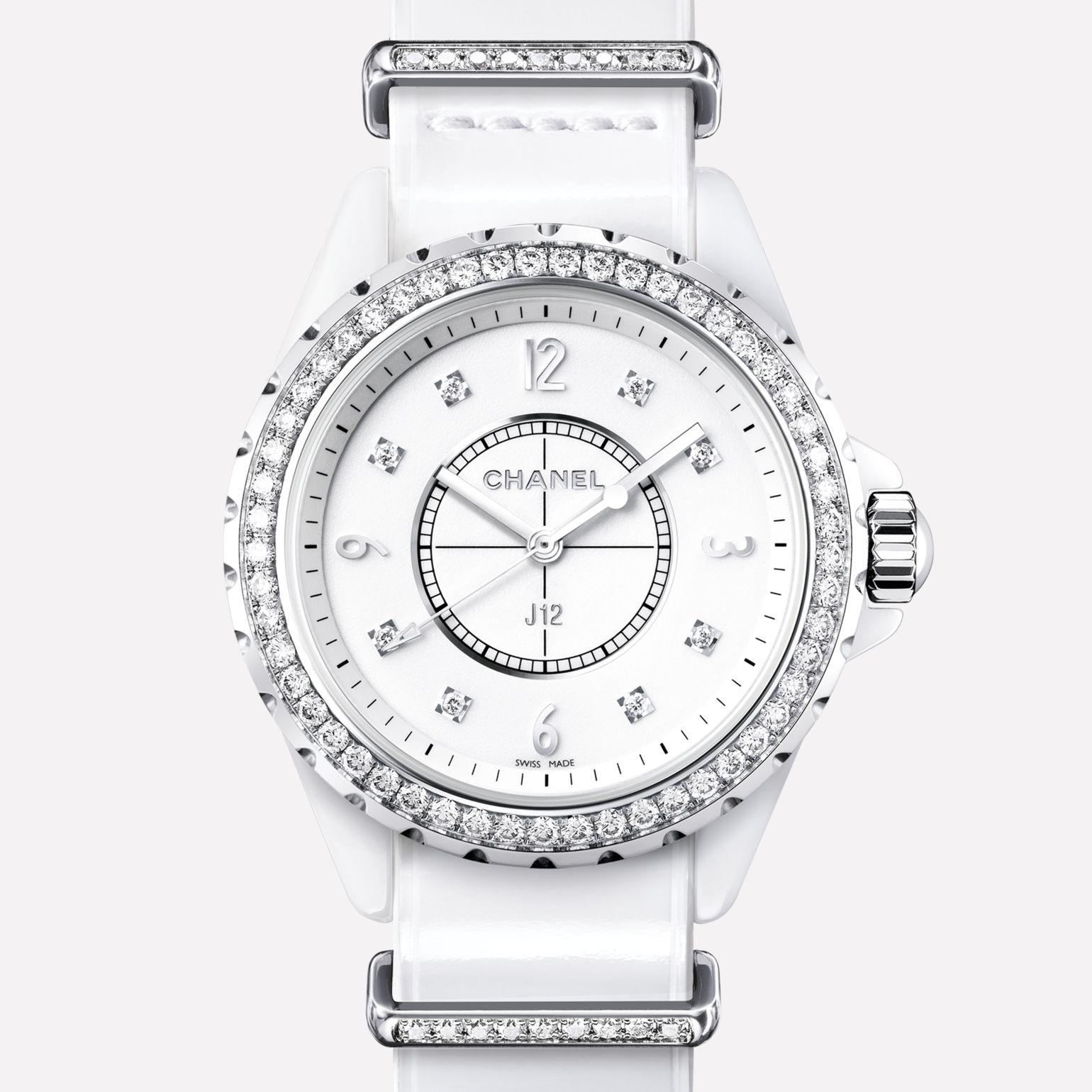 J12-G10 Watch White ceramic and steel, bezel, indicators, and loops set with diamonds, alligator strap
