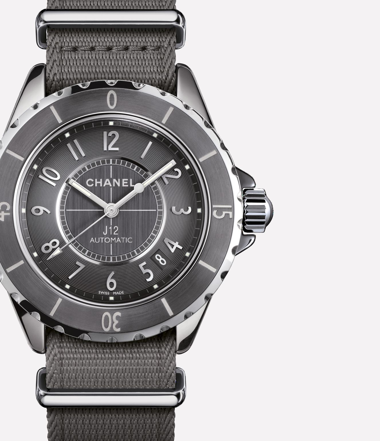 J12-G10 Titanium ceramic and steel, grey alligator and grey nylon straps