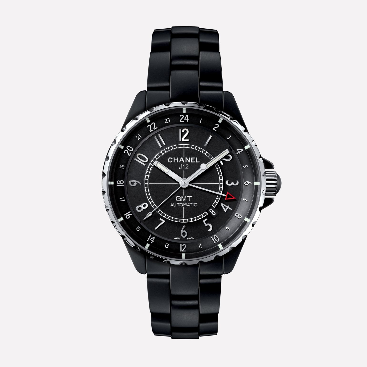 J12 GMT Watch, 41 mm Matte black highly-resistant ceramic and steel