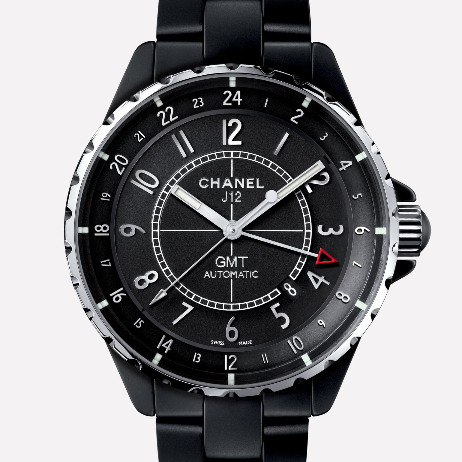 J12 GMT Watch Matte black ceramic and steel
