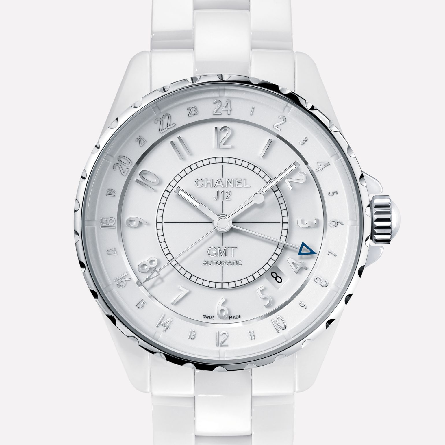 J12 GMT Watch White ceramic and steel
