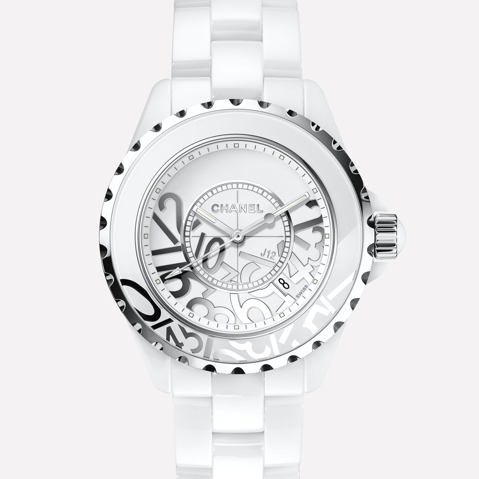 J12 GRAFFITI Watch White ceramic and steel, deconstructed numerals