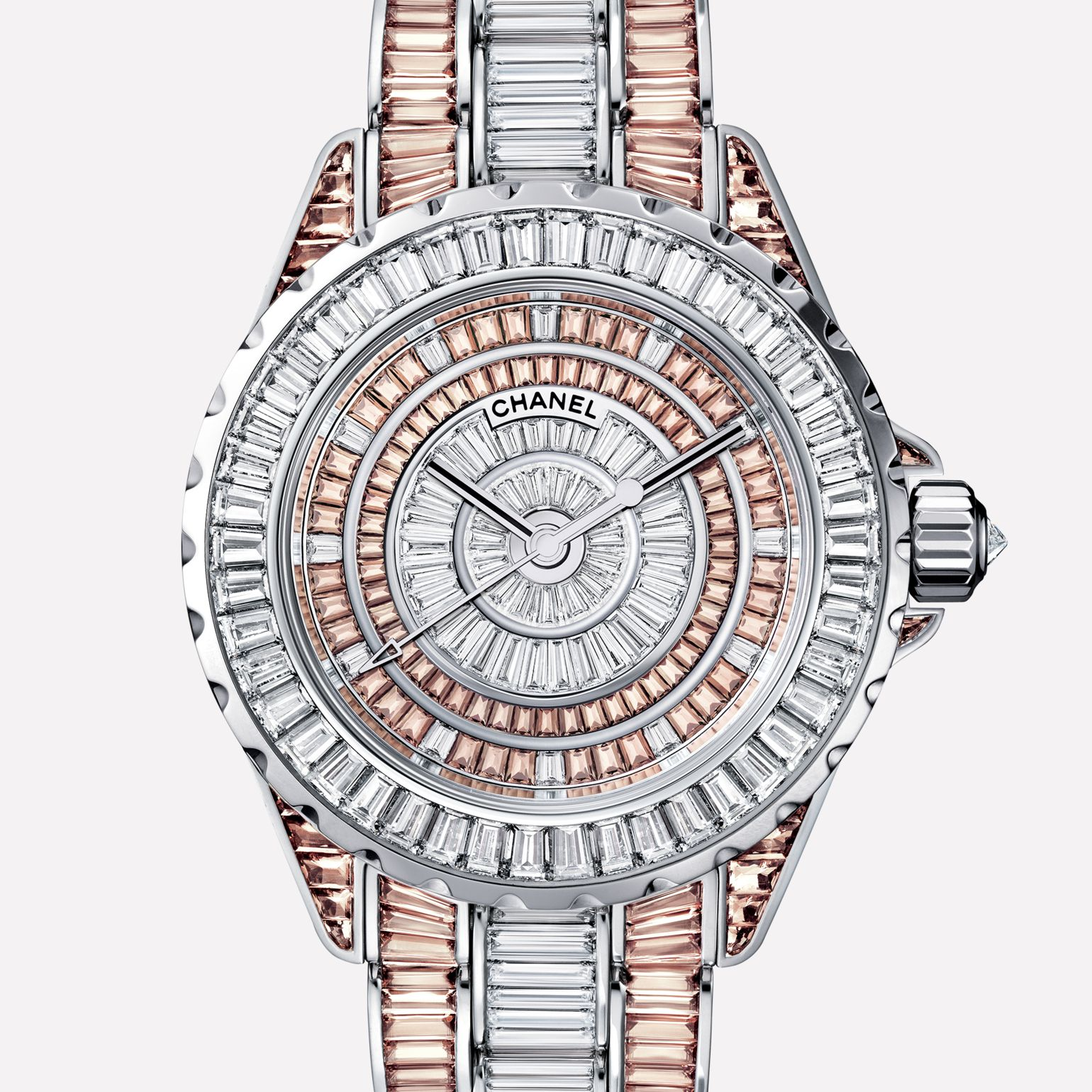 J12 High Jewelry Watch White gold, case, dial, bezel, and bracelet set with baguette-cut diamonds and cognac sapphires