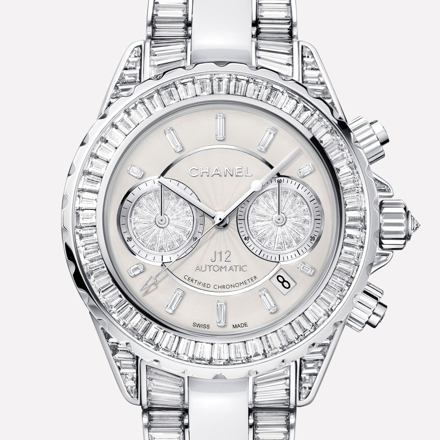 J12 High Jewelry Watch Chronograph, white gold and white ceramic, case, dial, bezel and bracelet set with baguette-cut diamonds