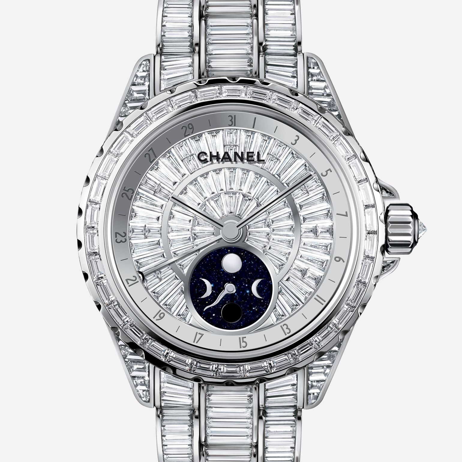 J12 High Jewelry Watch Moon phase, white gold, case, dial, bezel, and bracelet set with baguette-cut diamonds
