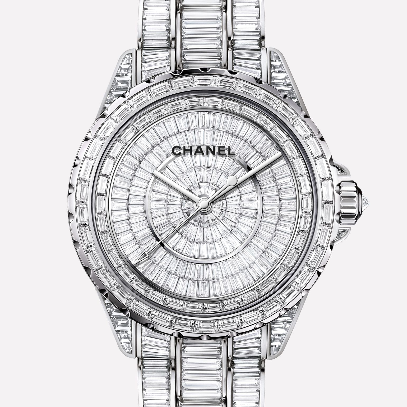 J12 High Jewelry Watch White gold, case and bracelet set with baguette-cut diamonds and baguette-cut black spinels
