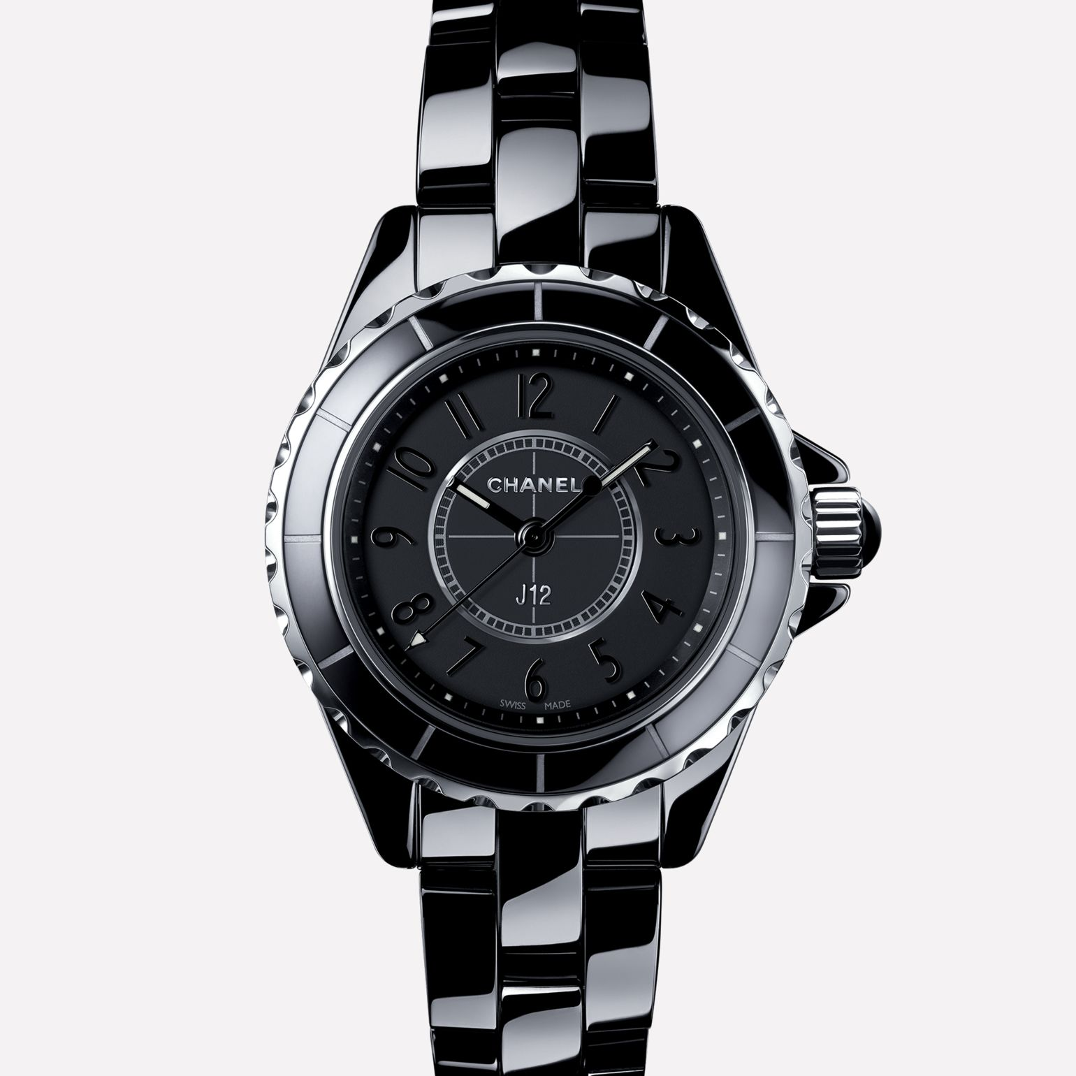 J12 Intense Black Watch Black ceramic and steel, black dial and numerals