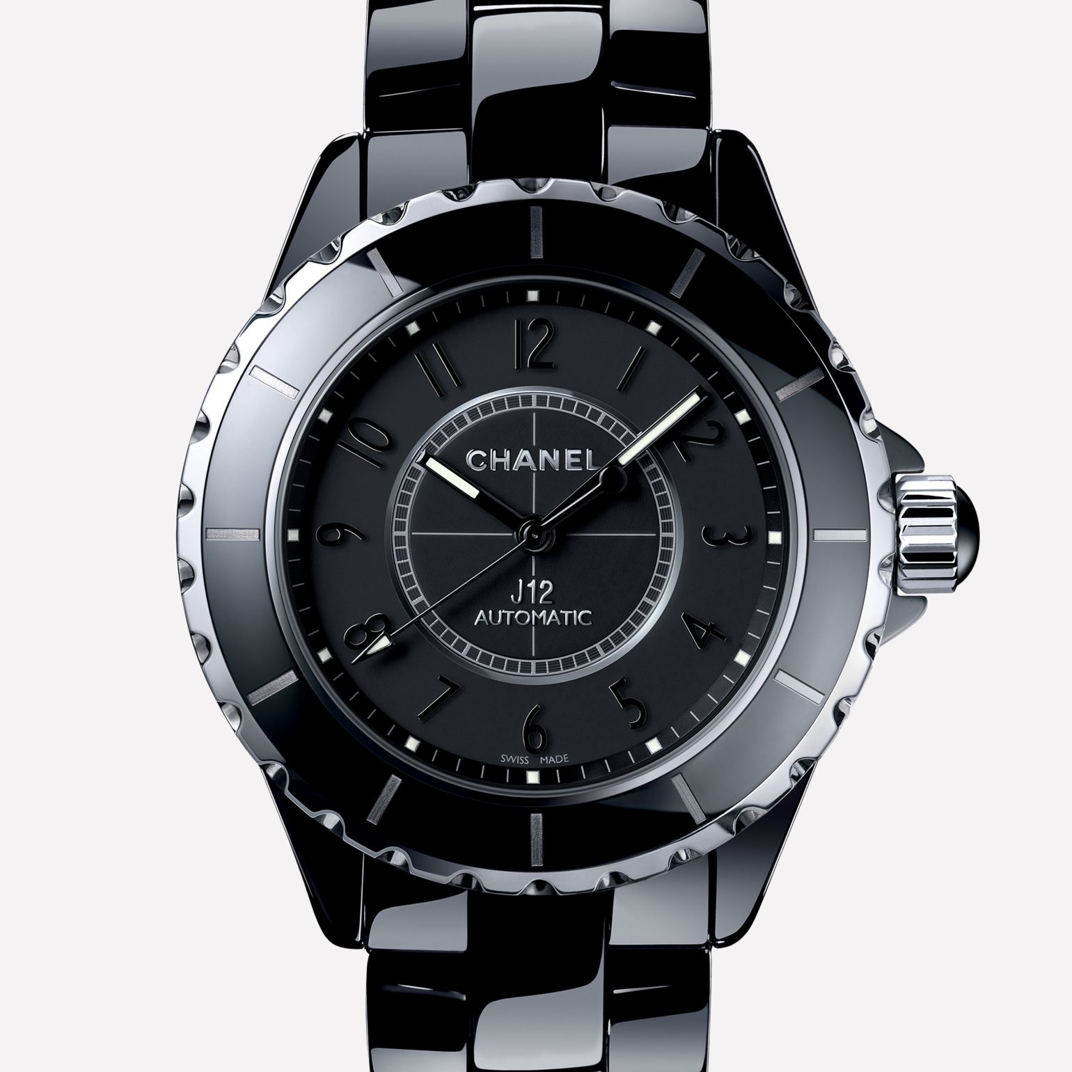 J12 Intense Black Black ceramic and steel, black dial and numerals