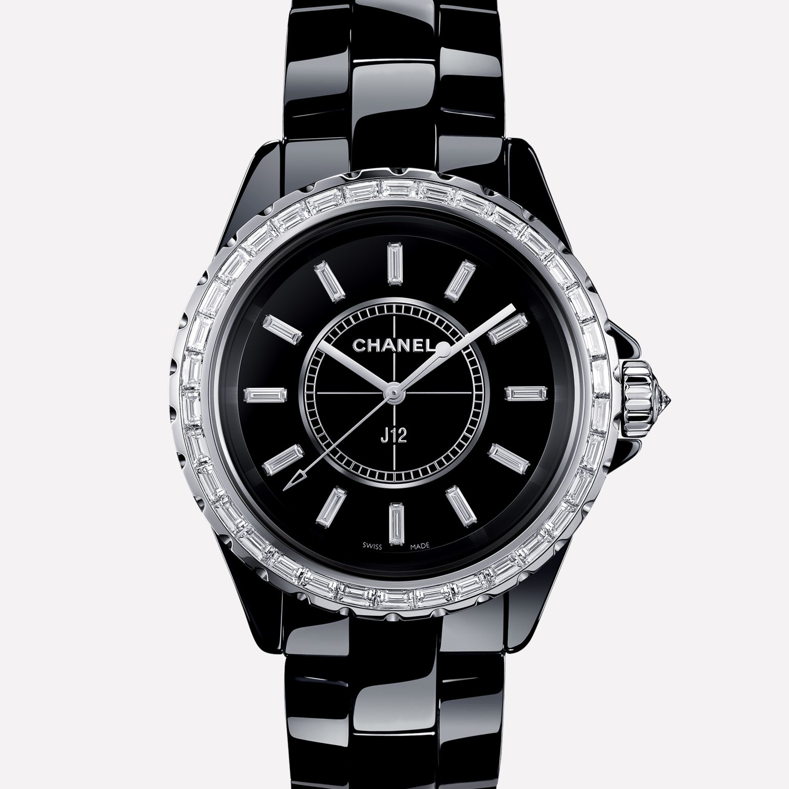 J12 Jewellery Watch Black highly resistant ceramic and white gold, baguette cut diamond bezel and indicators