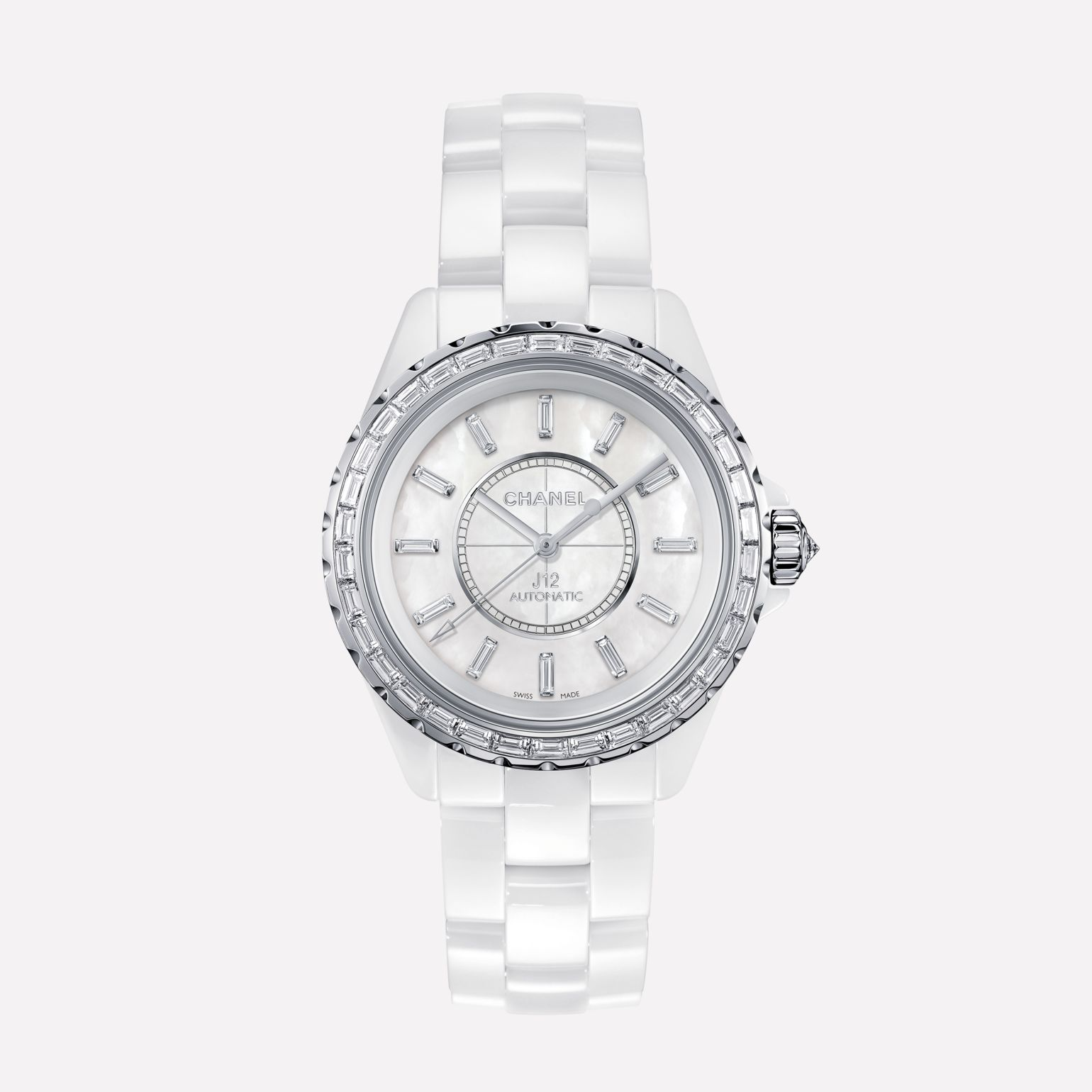 J12 Jewelry Watch, 38 mm White highly-resistant ceramic and white gold, baguette-cut diamond bezel and indicators