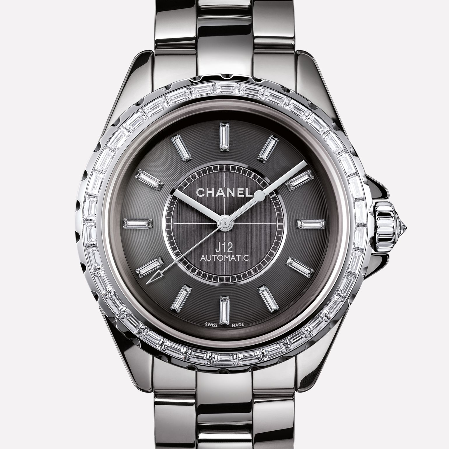 J12 Jewelry Watch Titanium ceramic and white gold, baguette-cut diamond bezel and indicators