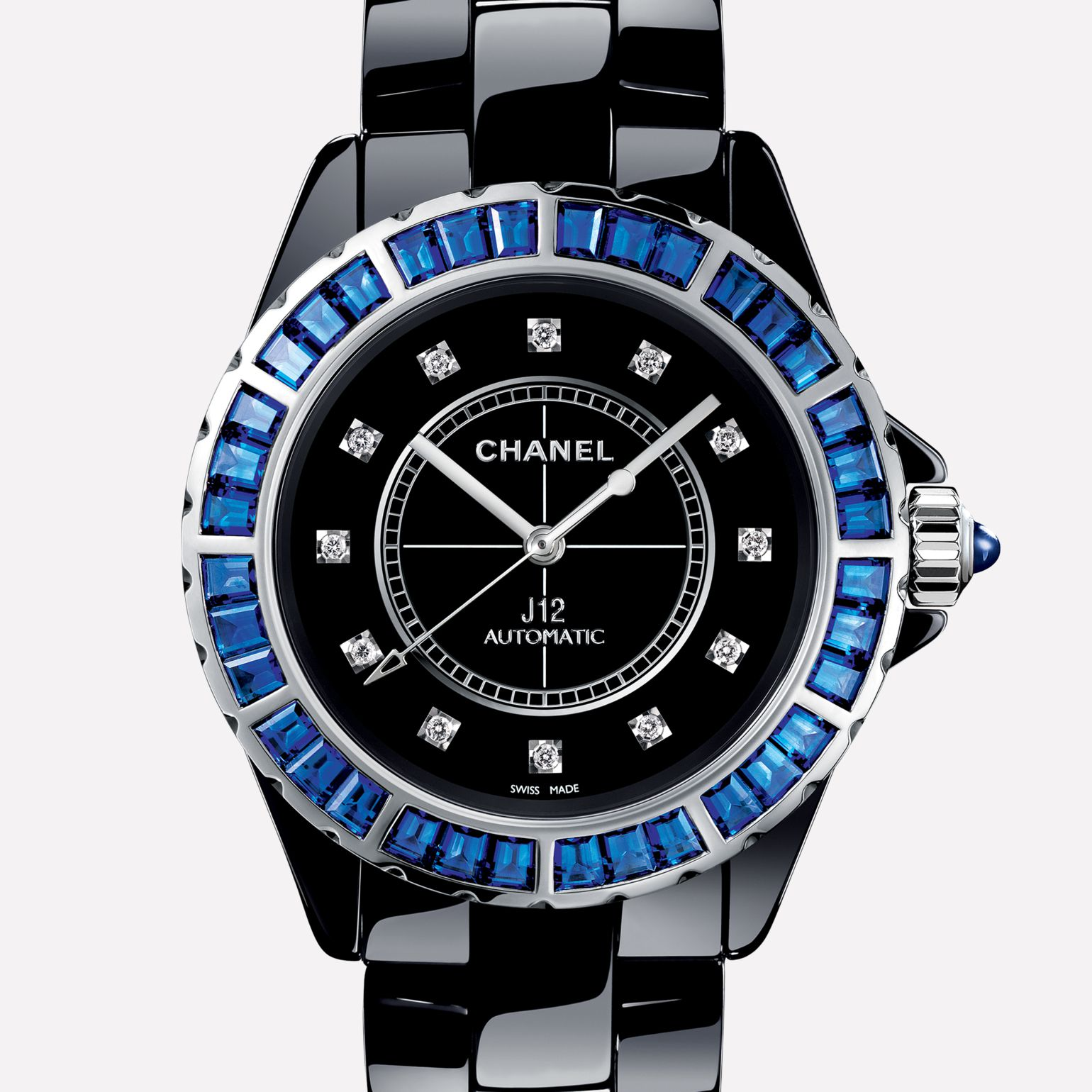 J12 Jewelry Watch Black ceramic and white gold, bezel set with blue baguette-cut sapphires, diamond indicators