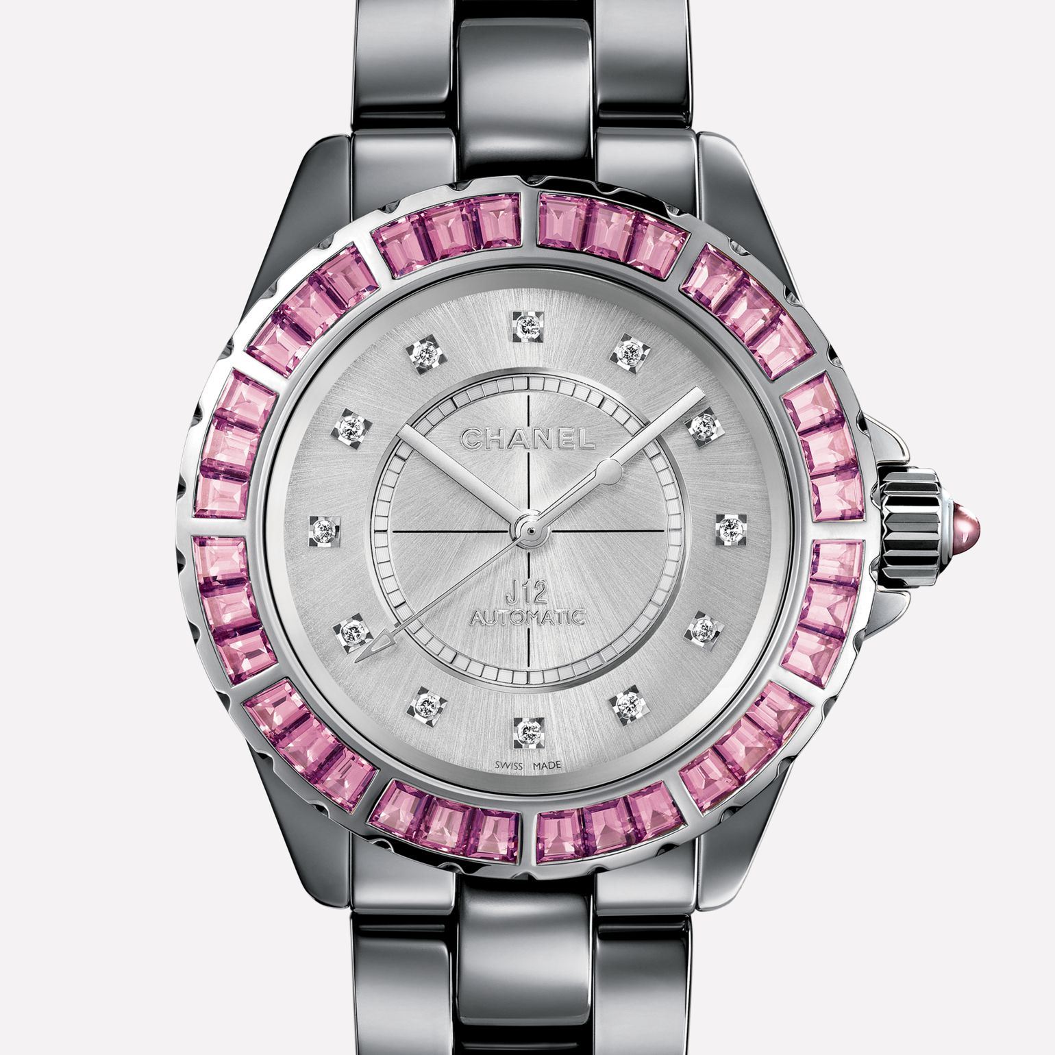J12 Jewelry Watch Titanium ceramic and white gold, bezel set with pink baguette-cut sapphires, diamond indicators