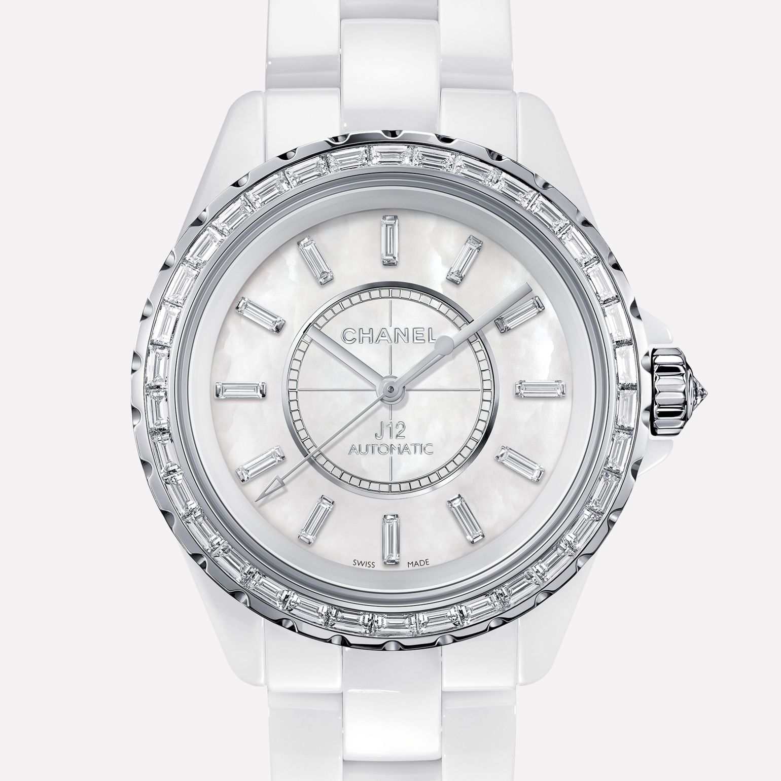 J12 Jewelry Watch White ceramic and white gold, baguette-cut diamond bezel and indicators