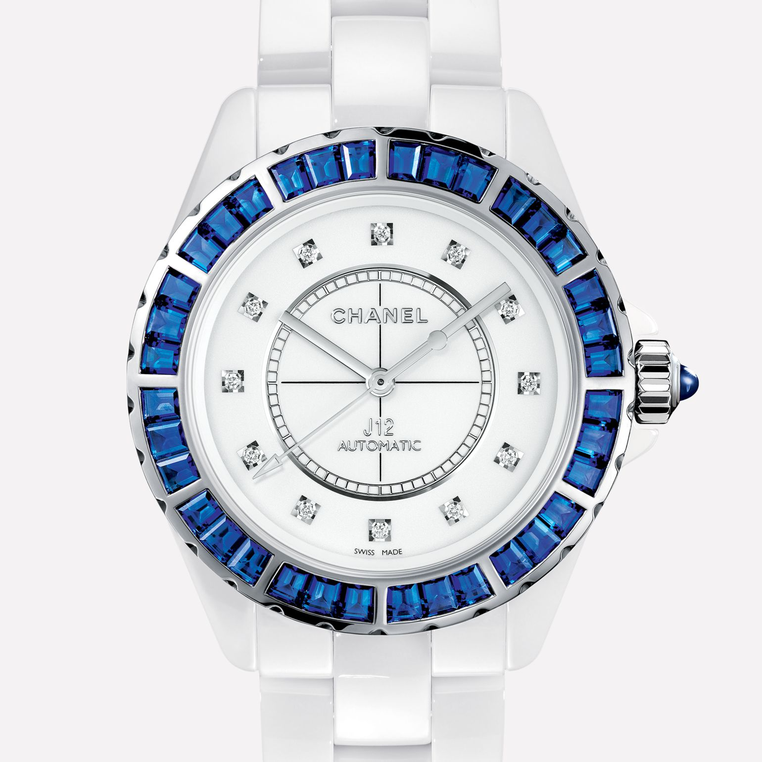 J12 Jewelry Watch White ceramic and white gold, bezel set with blue sapphires, diamond indicators