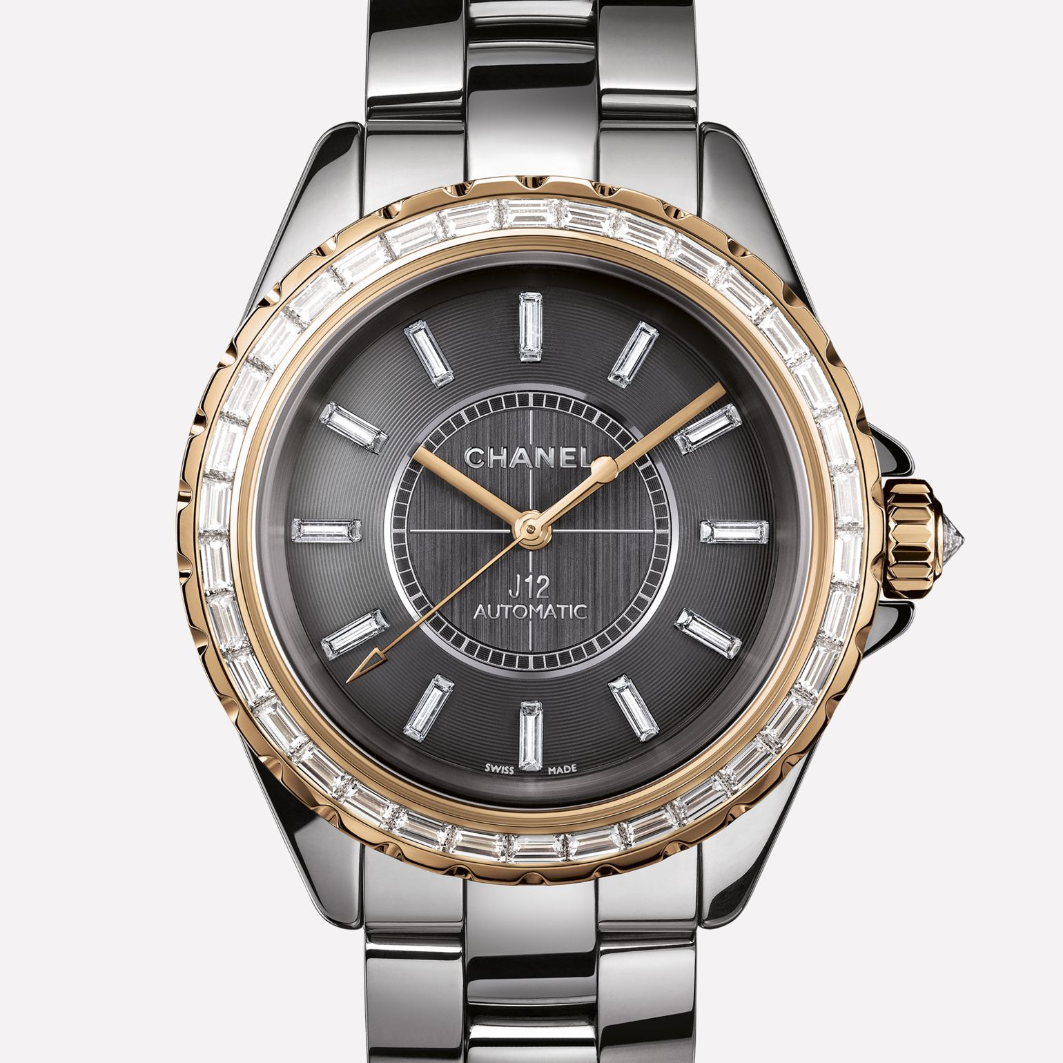 J12 Jewelry Watch Titanium ceramic and BEIGE GOLD, baguette-cut diamond bezel and indicators
