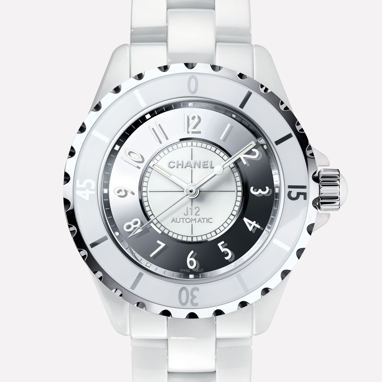 J12 Mirror White ceramic and steel, mirrored dial