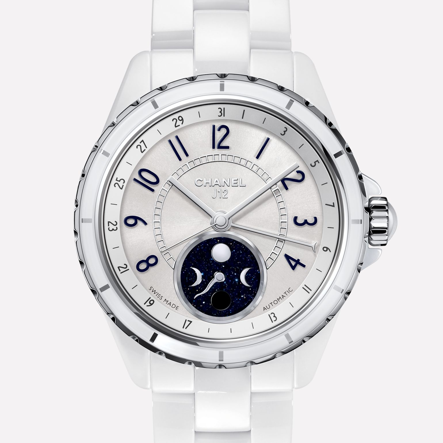 J12 Moon phase White ceramic and steel