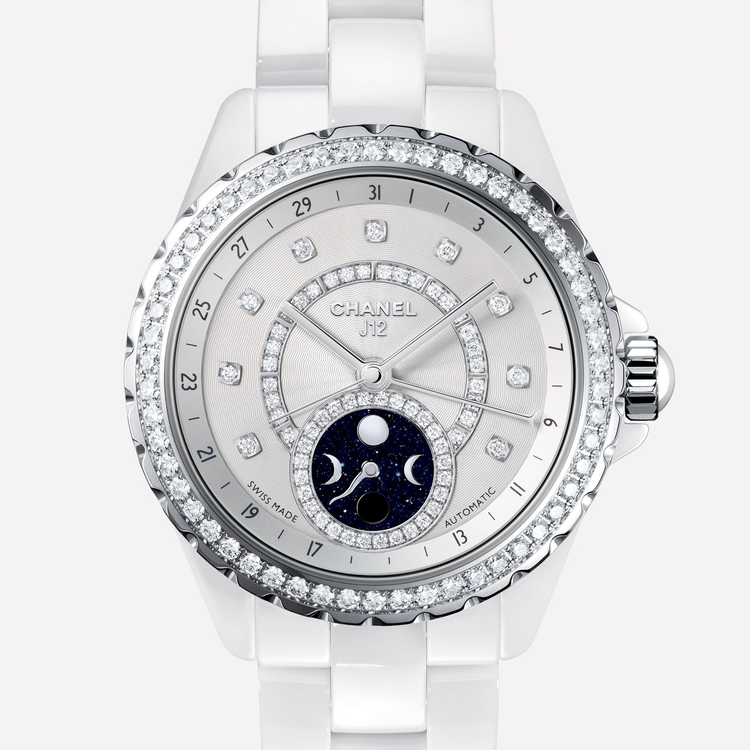 J12 Moon phase White ceramic and steel case, bezel, indicators and moon phase counter set with diamonds