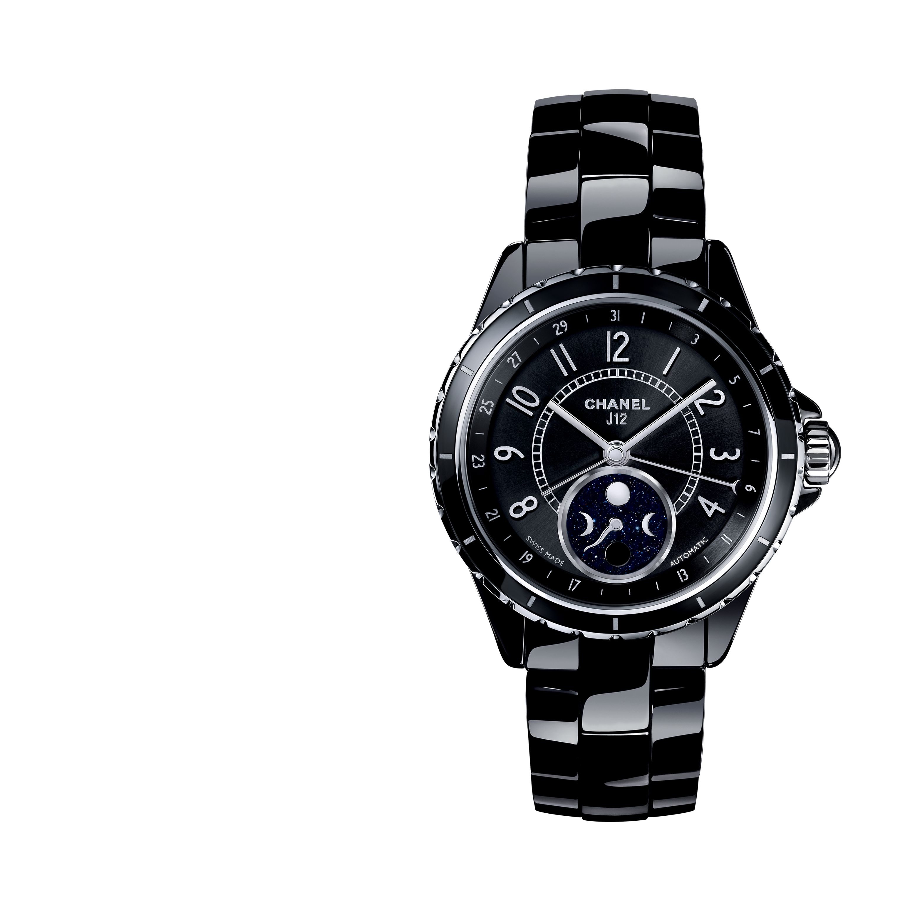 bf2fc8eadc1a Name  J12 Moon phase  Reference  H3406  Collection  J12  Materials  Black  ceramicSteel  Case  Black highly resistant ceramic and steel case ...