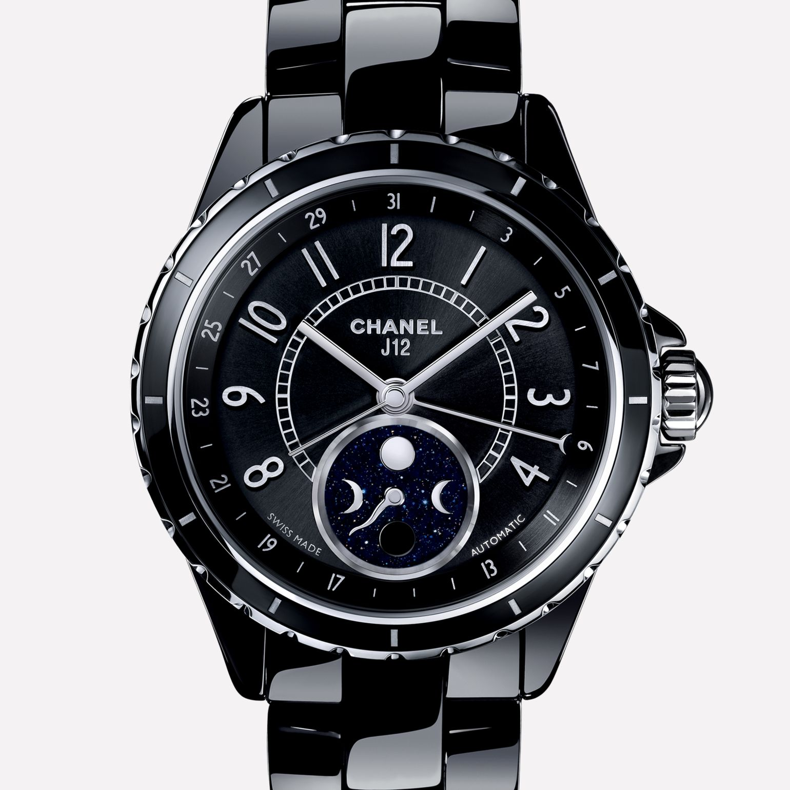 J12 Moon phase Black ceramic and steel