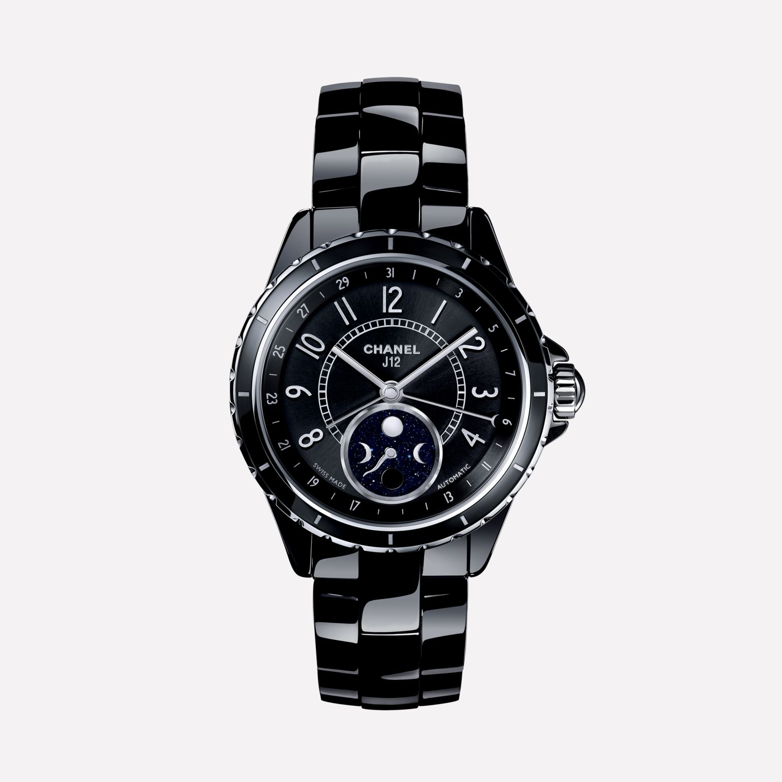 J12 Moon phase Black highly resistant ceramic and steel
