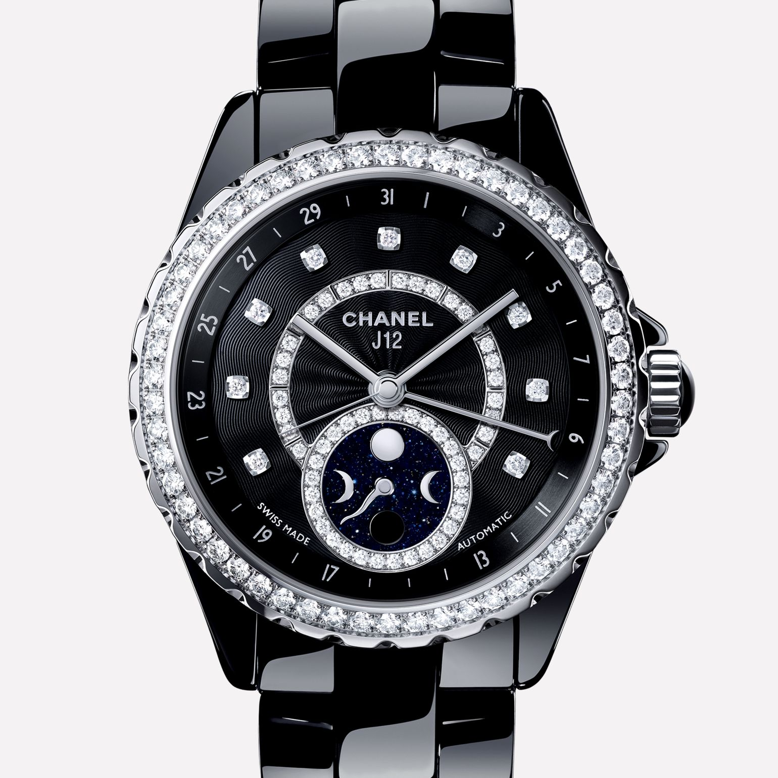 J12 Moon phase Black ceramic and steel case, bezel, indicators and moon phase counter set with diamonds