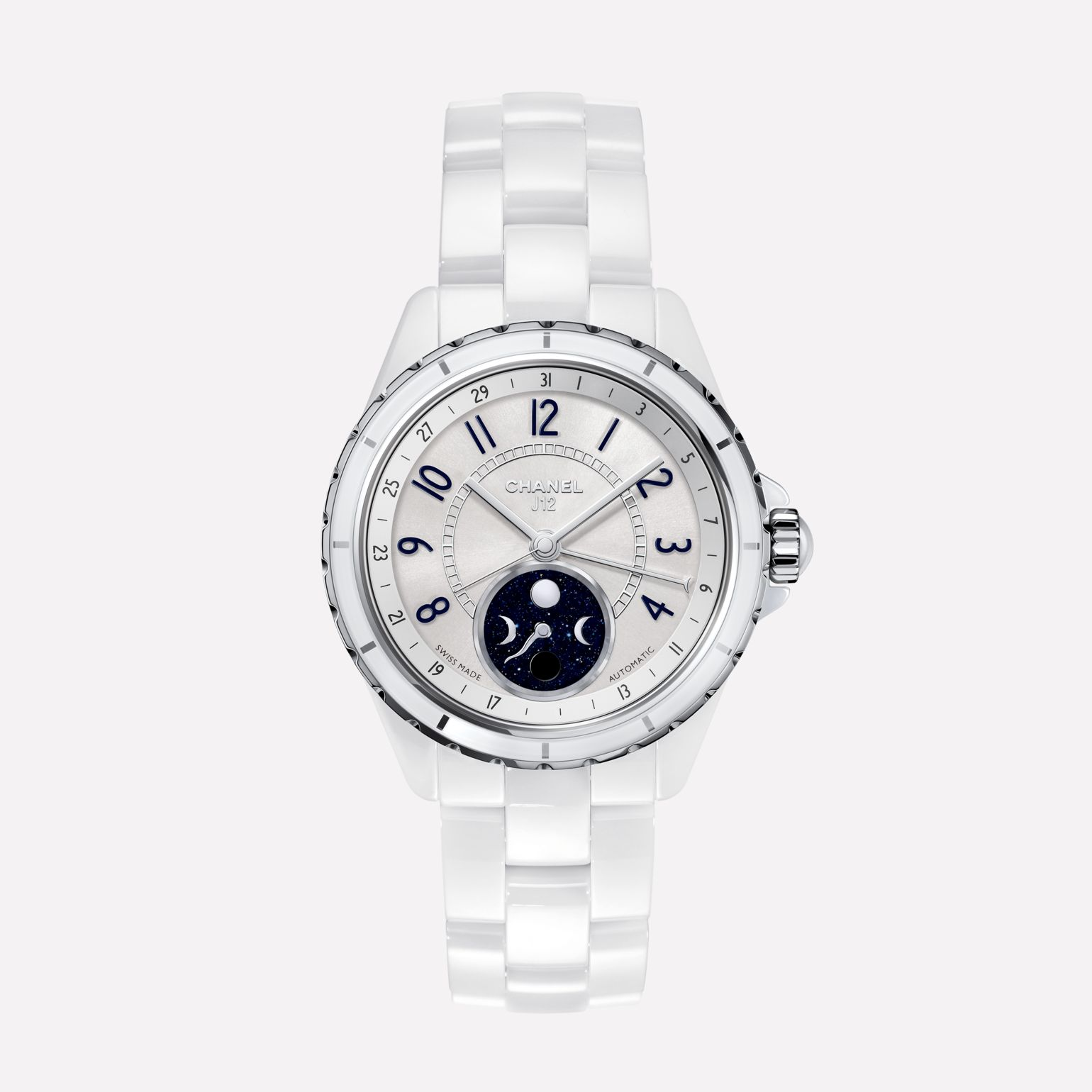 J12 Moonphase Watch, 38 mm White highly resistant ceramic and steel