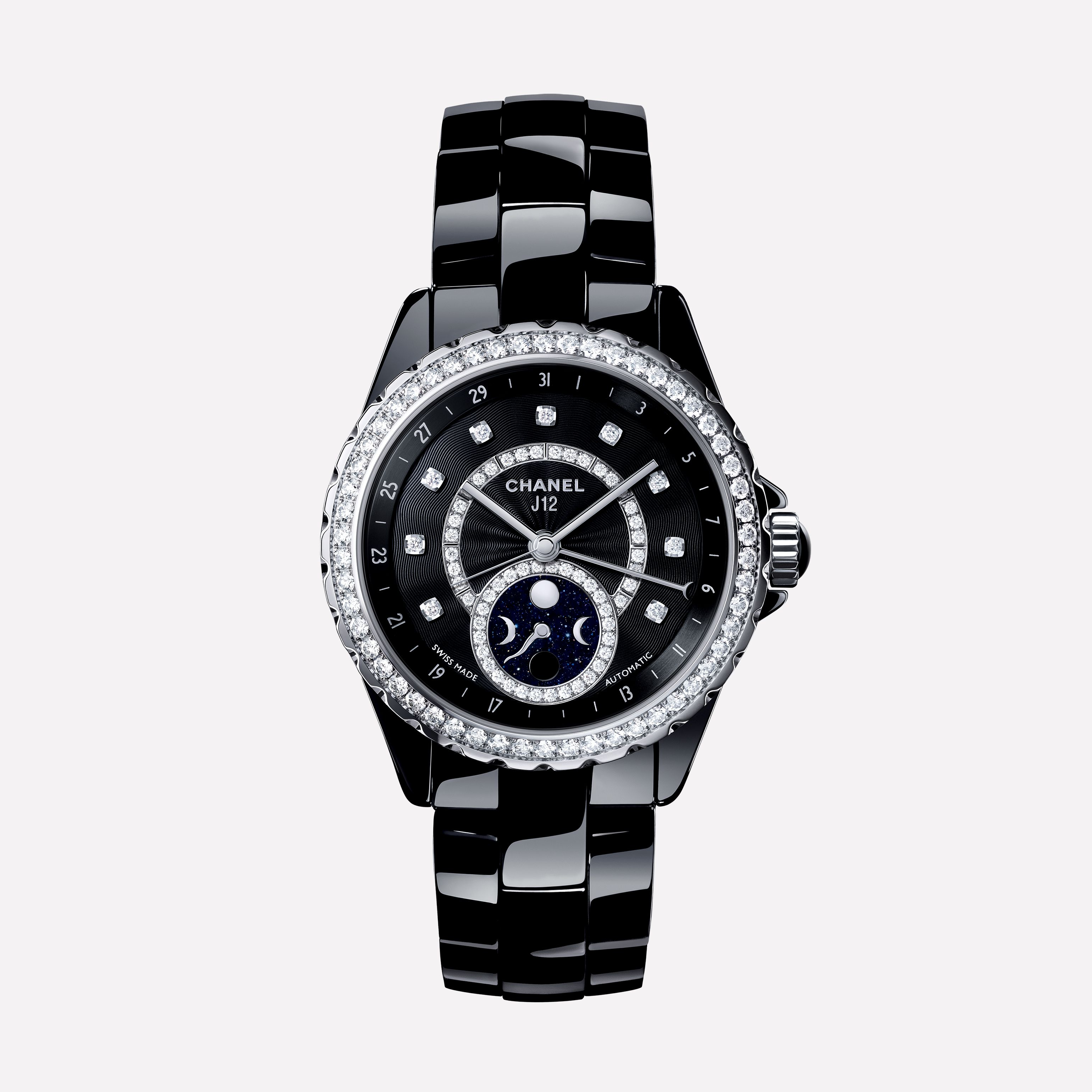 f3a5ccd2840a J12 Moonphase Watch Black highly-resistant ceramic and steel