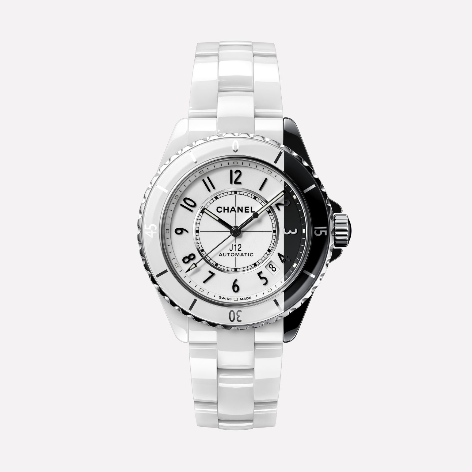 J12 Paradoxe Watch Caliber 12.1, 38 mm White and black highly resistant ceramic and steel