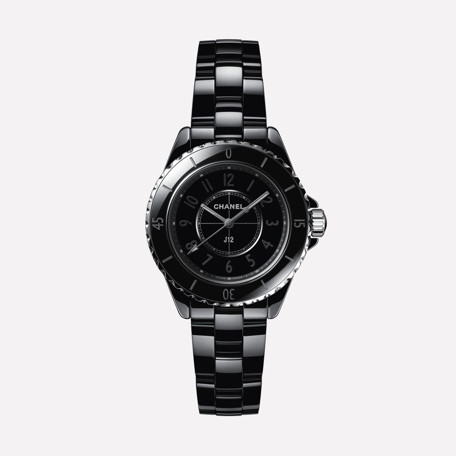 J12 Phantom Watch, 33 mm Black highly resistant ceramic and steel