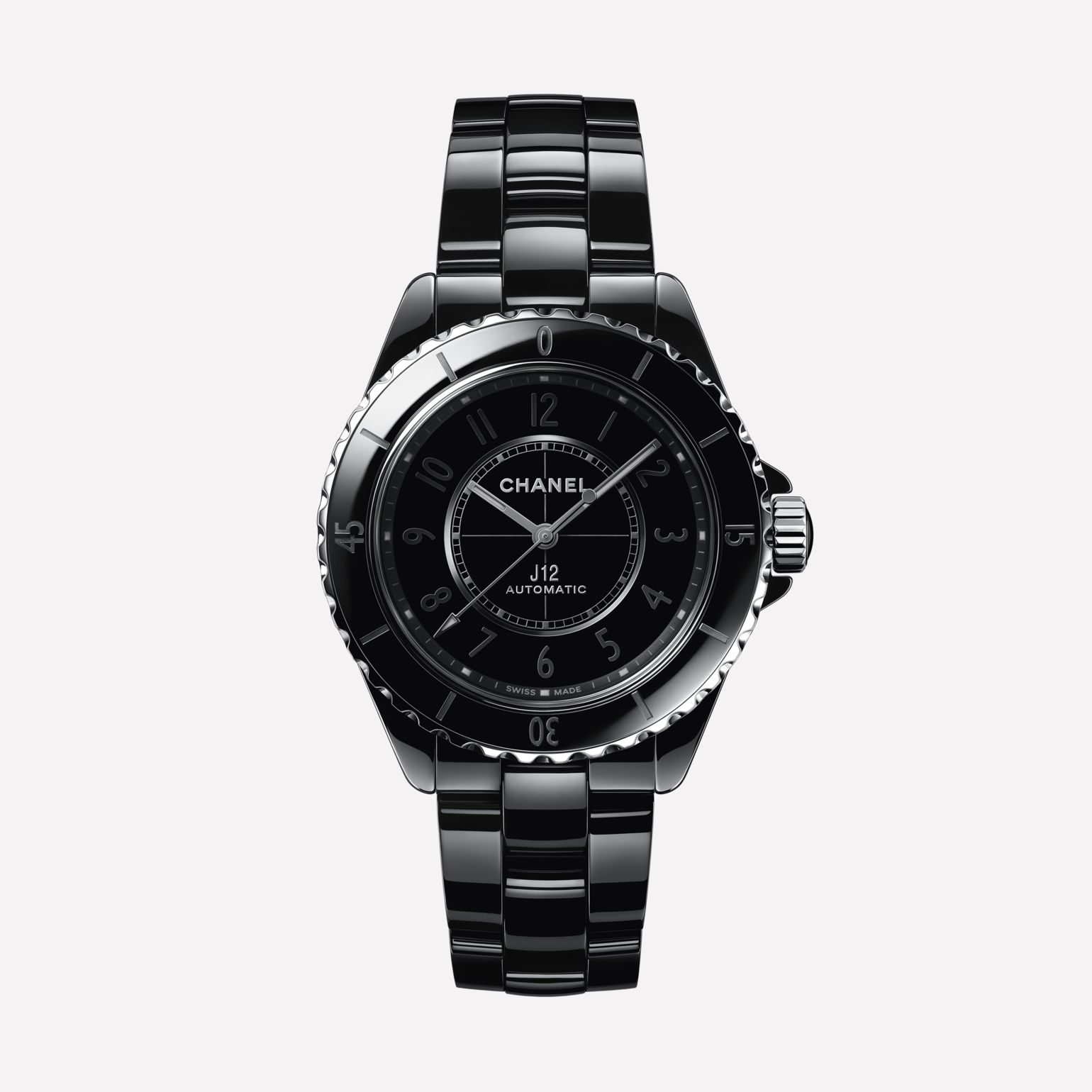 J12 Phantom Watch Caliber 12.1, 38 mm Black highly resistant ceramic and steel