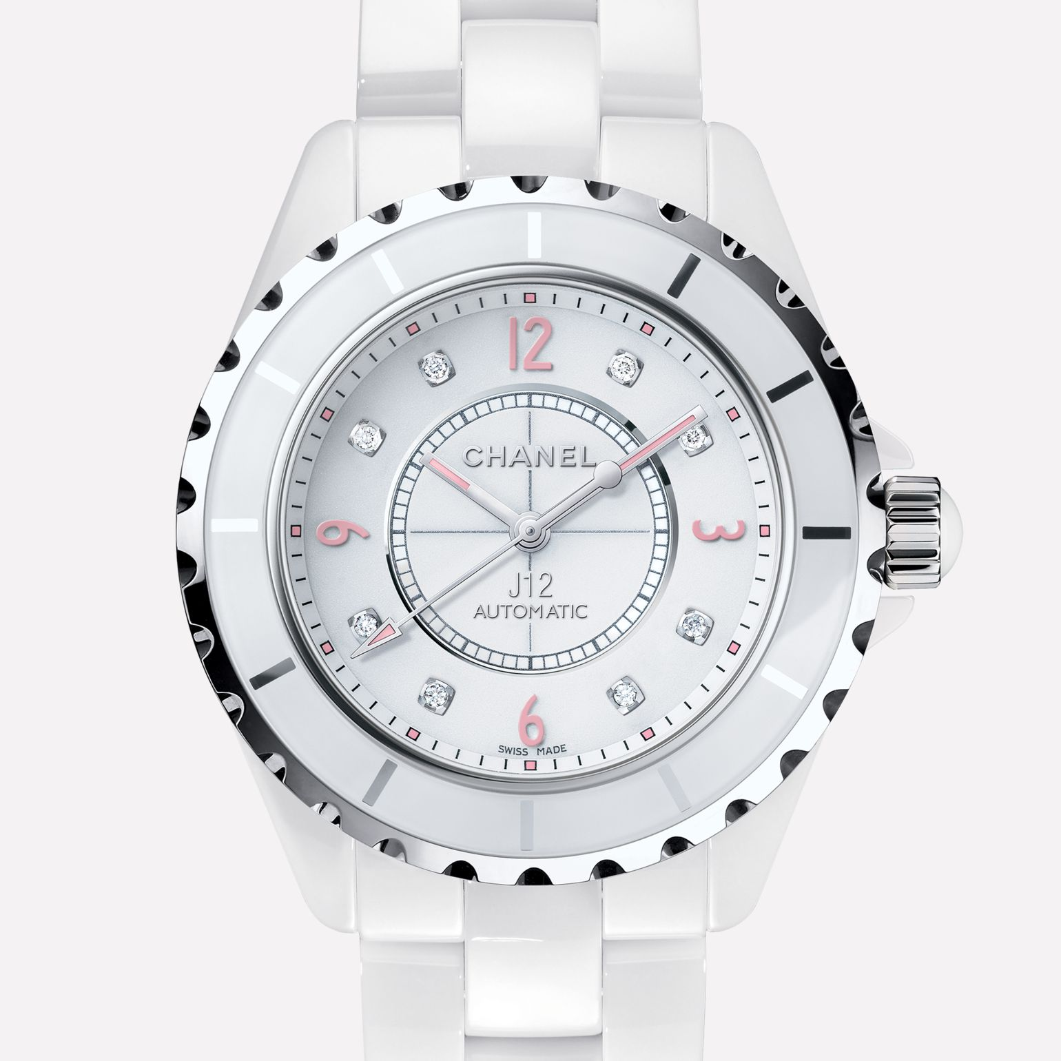 J12 Pink Light Watch White ceramic and steel, pink luminescent numerals, diamond indicators
