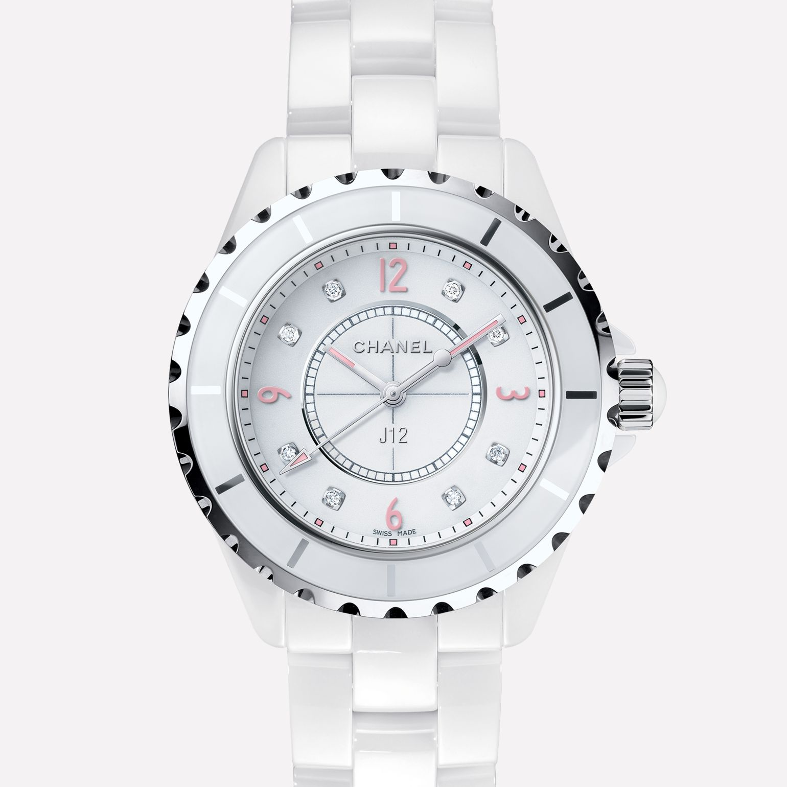 J12 Pink Light White ceramic and steel, pink luminescent numerals, diamond indicators
