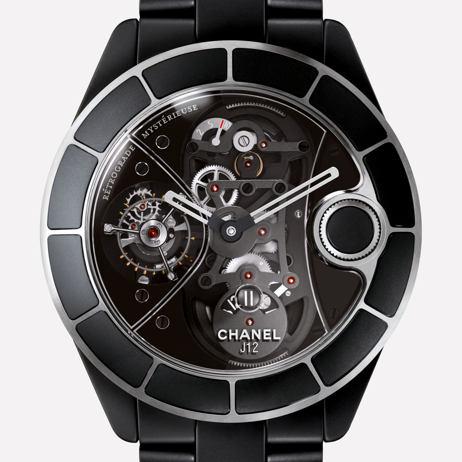 J12 RMT Watch Matt black highly resistant ceramic, retrograde mysterieuse calibre and APRP for CHANEL tourbillon, retractable crown