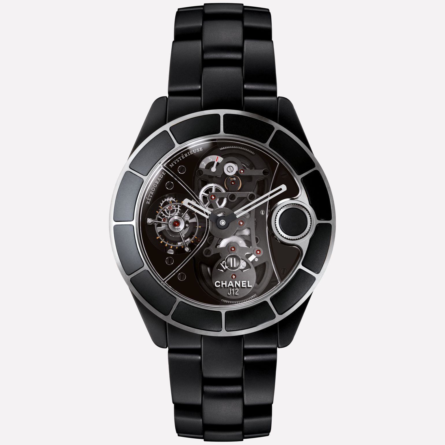 J12 RMT Watch Matte black highly-resistant ceramic, retrograde mysterieuse caliber and APRP for CHANEL tourbillon, retractable crown