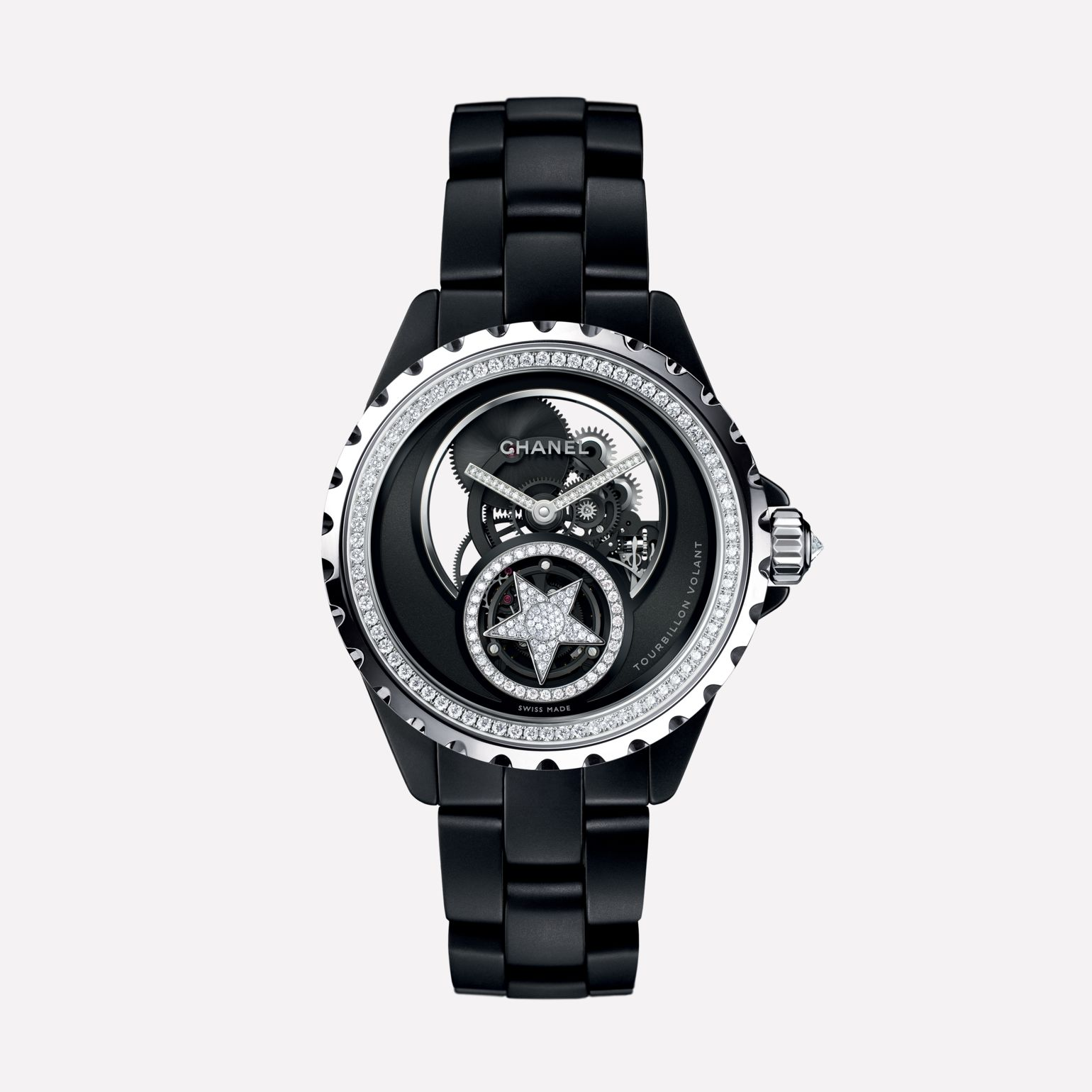 J12 Skeleton Flying Tourbillon Watch, 38 mm White gold and matte black highly-resistant ceramic, bezel and crown set with diamonds, openwork dial