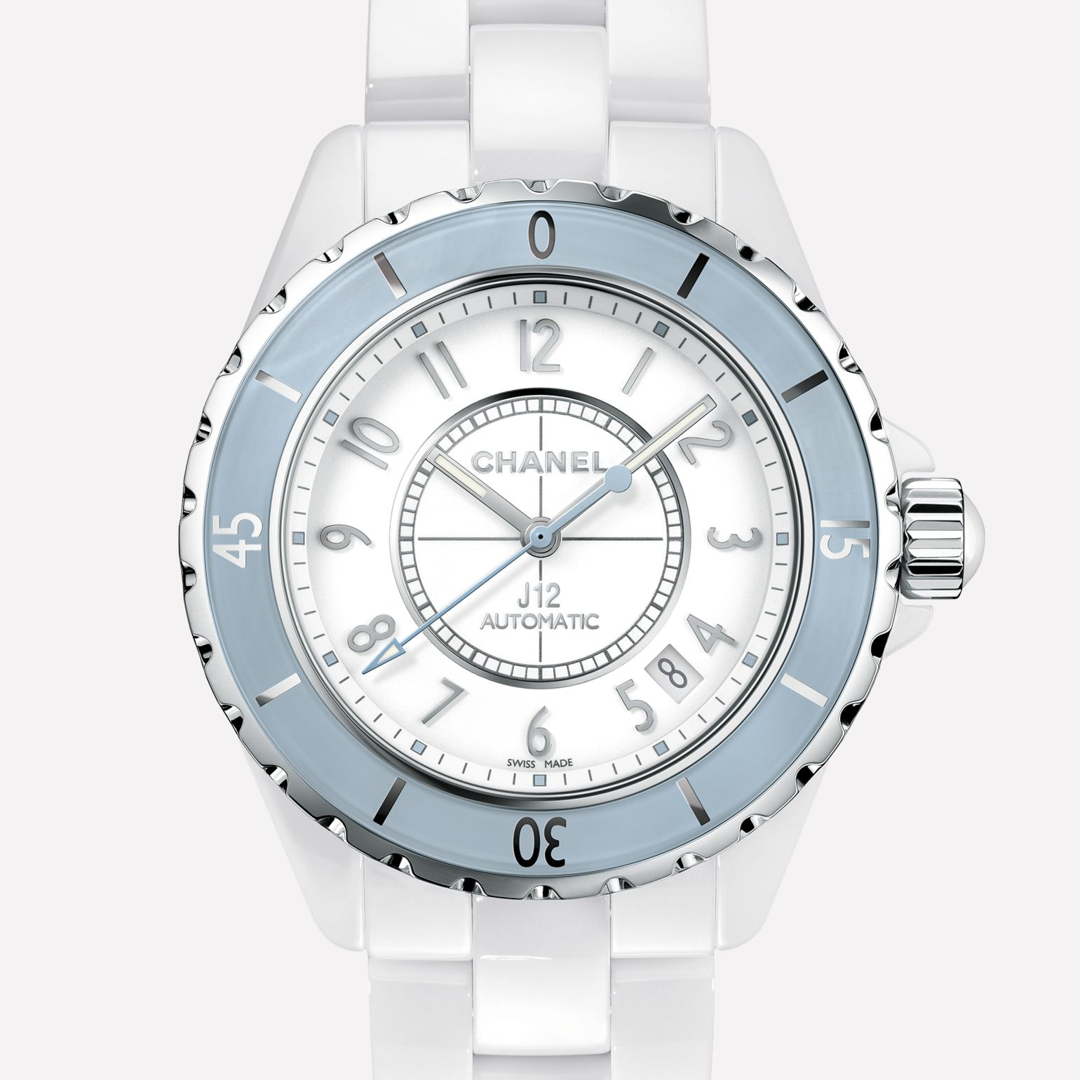 J12 Soft Blue Watch White ceramic and steel, blue bezel
