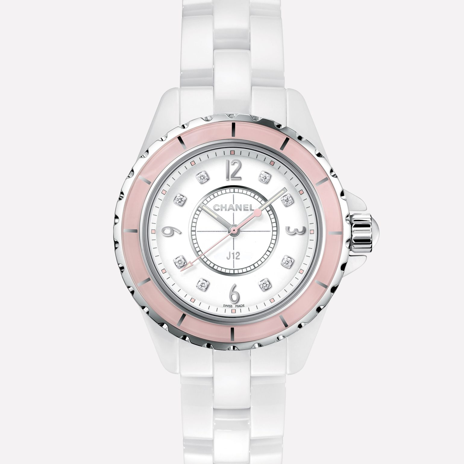 J12 Soft Rose Watch White ceramic and steel, pink bezel, diamond indicators