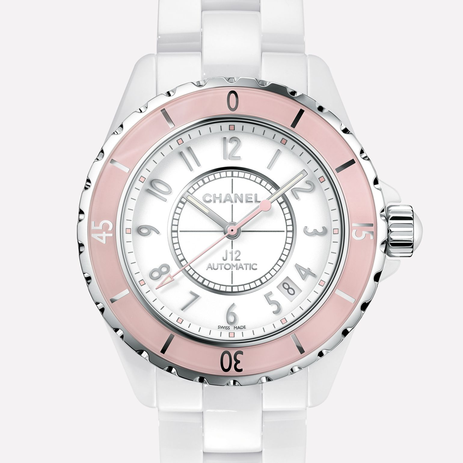J12 Soft Rose Watch White ceramic and steel, pink bezel