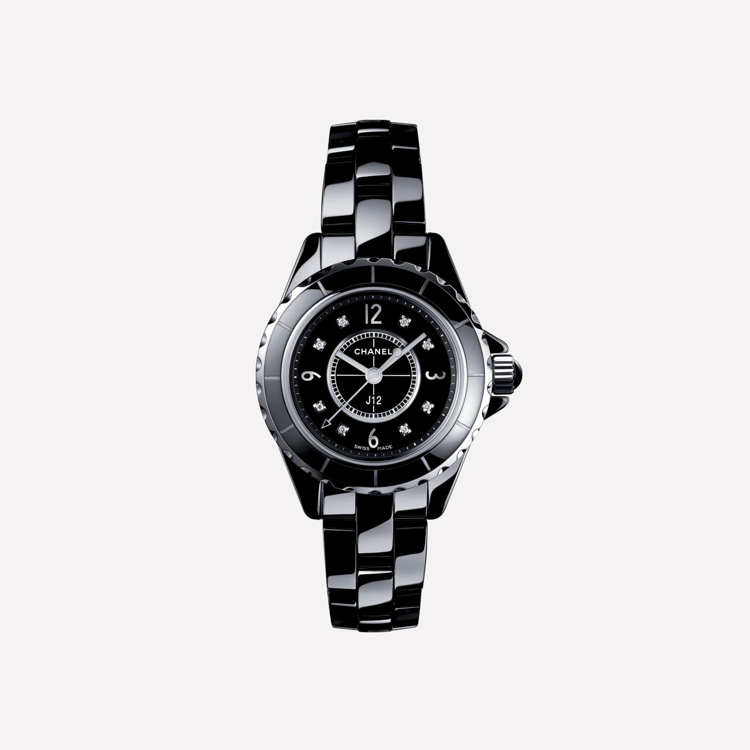 J12 Watch, 29 mm Black highly-resistant ceramic and steel, diamond indicators