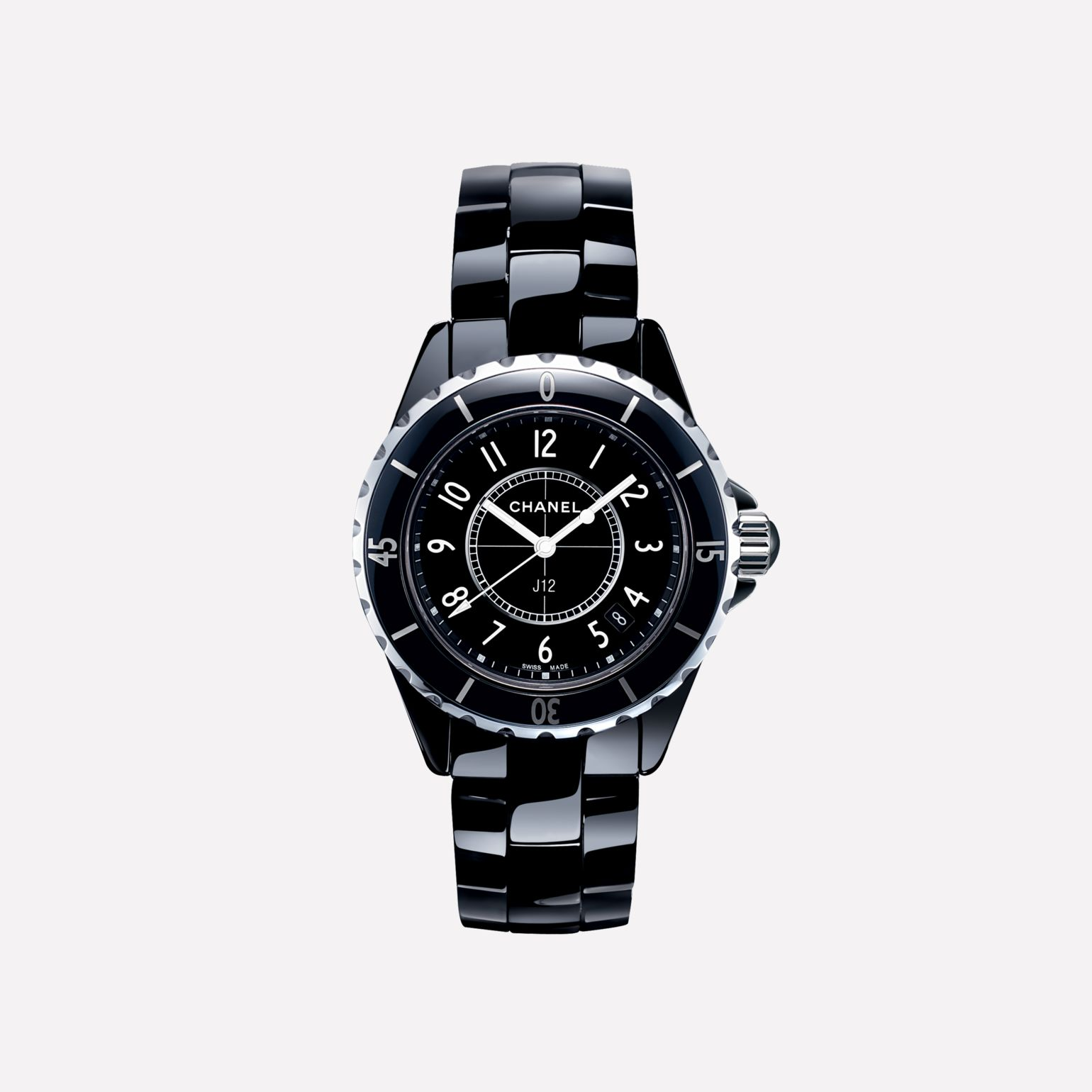 J12 Watch, 33 mm Black highly-resistant ceramic and steel