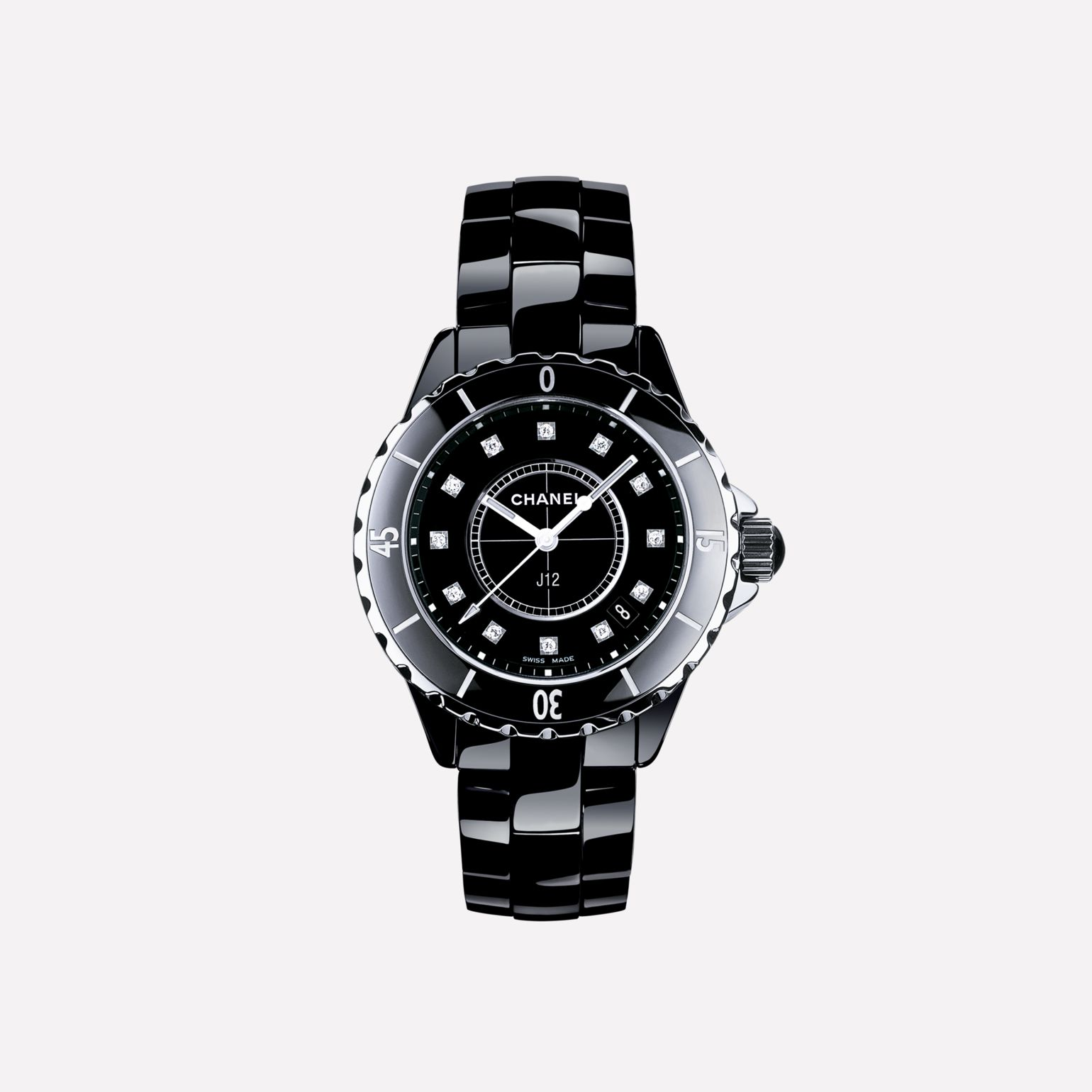 J12 Watch, 33 mm Black highly-resistant ceramic and steel, diamond indicators