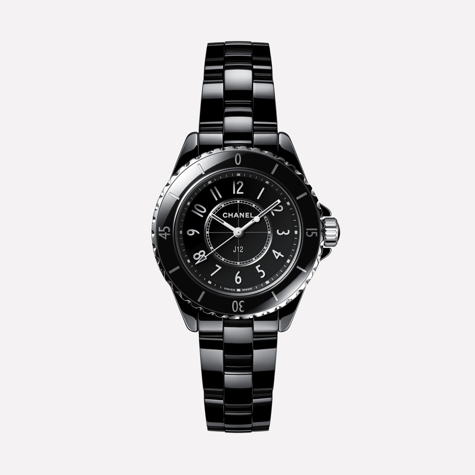 J12 Watch, 33 mm Black highly resistant ceramic and steel