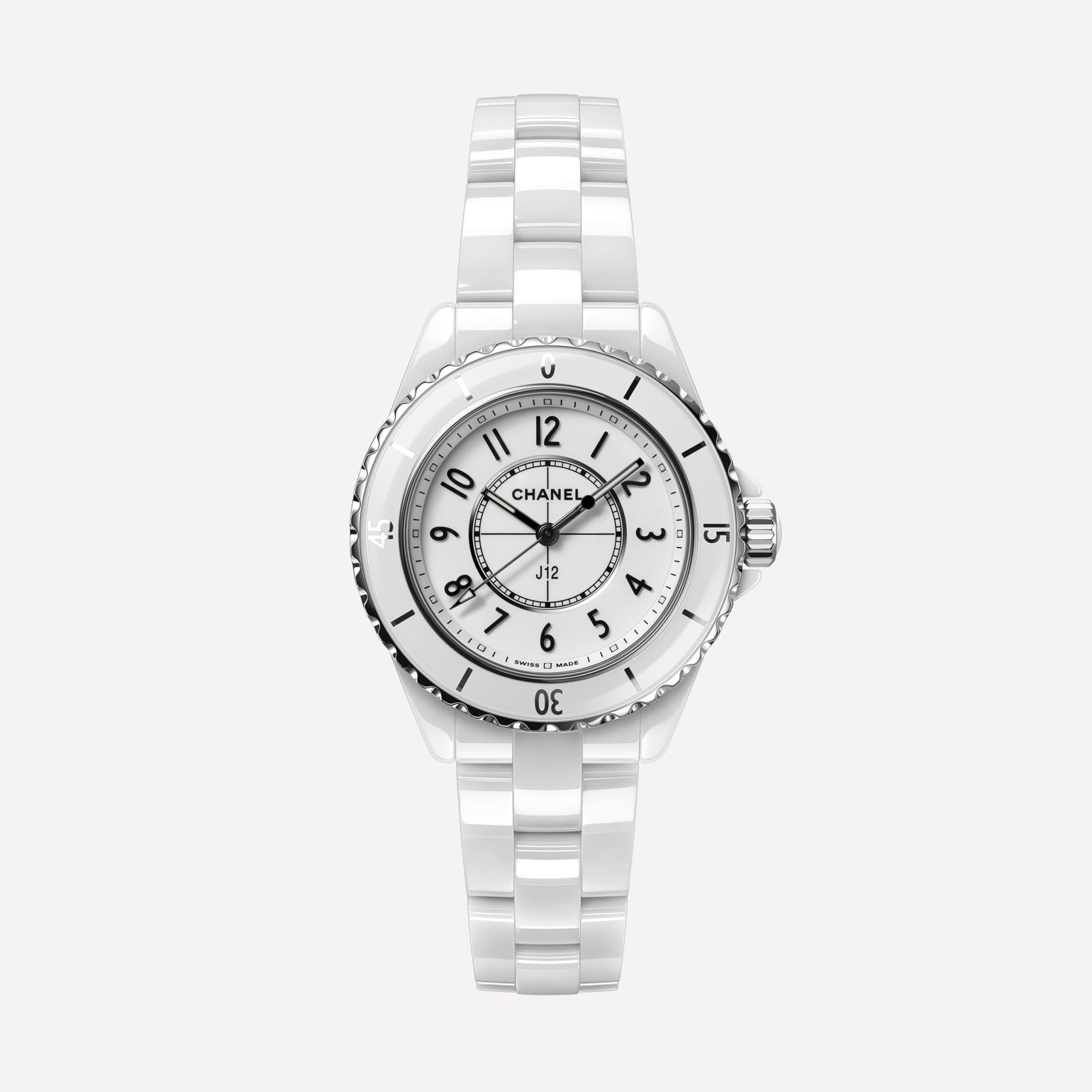 J12 Watch, 33 mm White highly resistant ceramic and steel